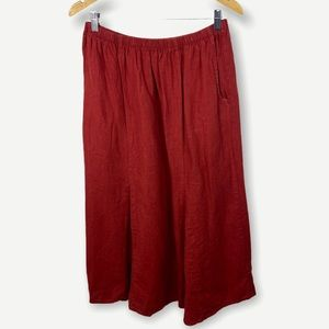 Flax 100% Linen Maxi Skirt Red Size Medium Pockets